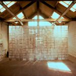 'pared de papel'. 'paperwall' in brussels. ink . paper and cord . 300 x 600 cm. 1996