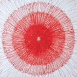 'pulsion' . 'pulsion'. red ink in paper . 25 x 25 cm . 1999